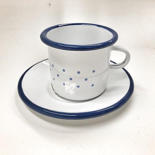 Glückskäfer Emaillierte Tasse mit Teller