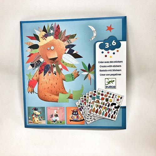 Djeco Sticker Bastel Set Tiere