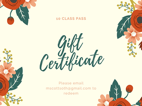 Gift Card for a 10 Class Pass