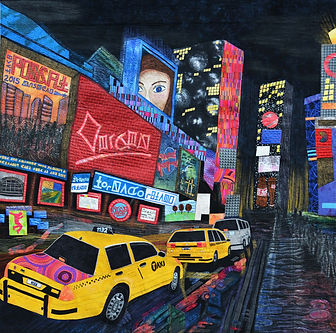 New York Lights - 2nd Place -  Festival Awareness Celebrations Special Exhibition Category - International Quilt Festival - Houston, Texas 2015 - Fabric, thread, acrylic paint, oil paint - 154x155cm – 2015