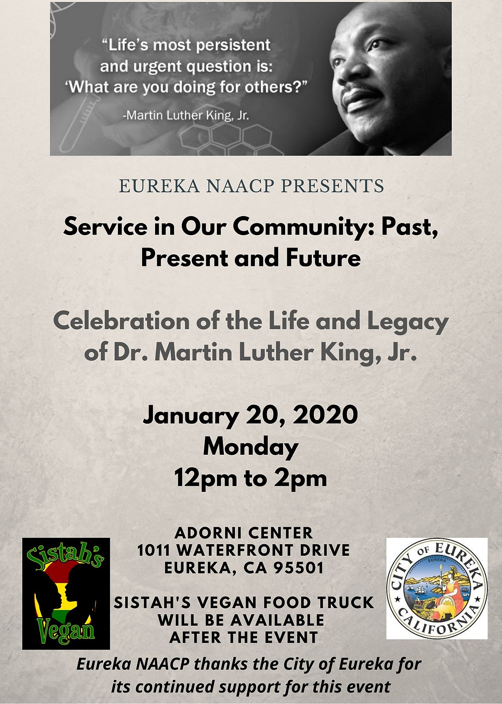 Monday, January 20, 2020   from 12pm to 2pm