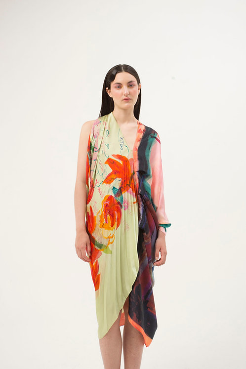 Pleated Artprint Dress