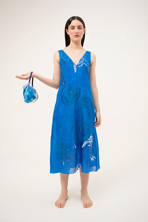 Blue Midi Bies V Dress
