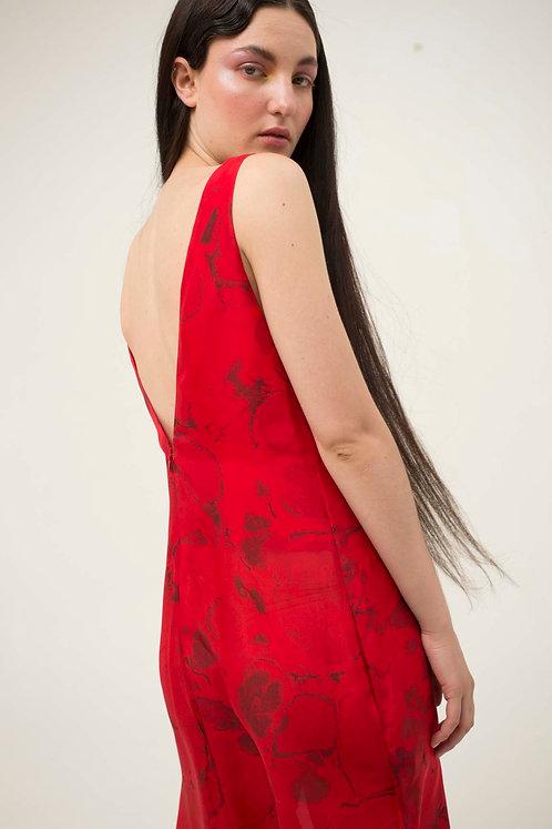 Red Midi Bies V Dress