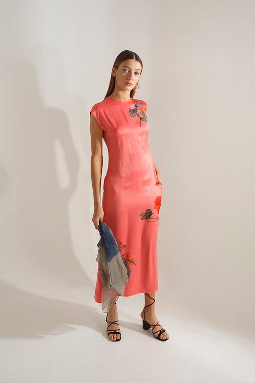 Lidia Dress Coral w/ Flowers