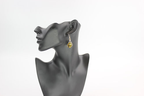 Amber and Sterling Silver Drop Earrings