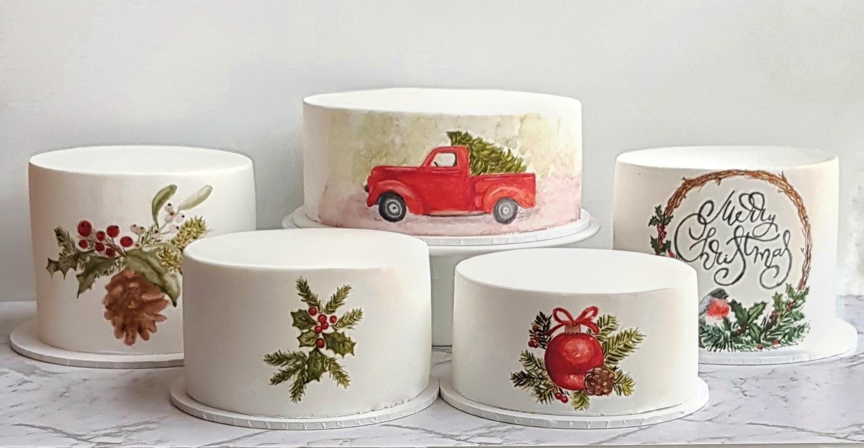 handpainted Christmas cakes