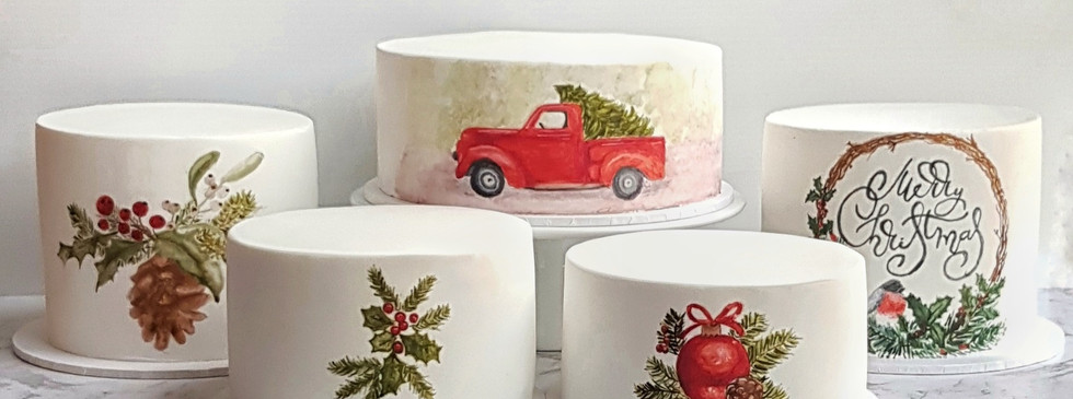 handpainted Christmas cakes