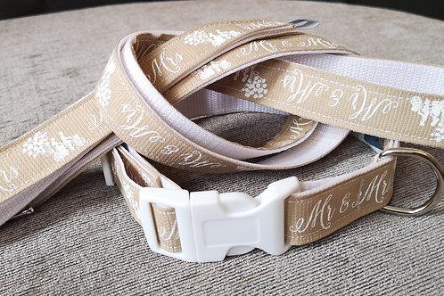 Mr & Mrs Wedding Day Collar & Optional Lead