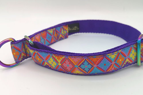 "Martingale Dog Collar , Purple 1""cushion webbing , Flower Diamond Ribbon"
