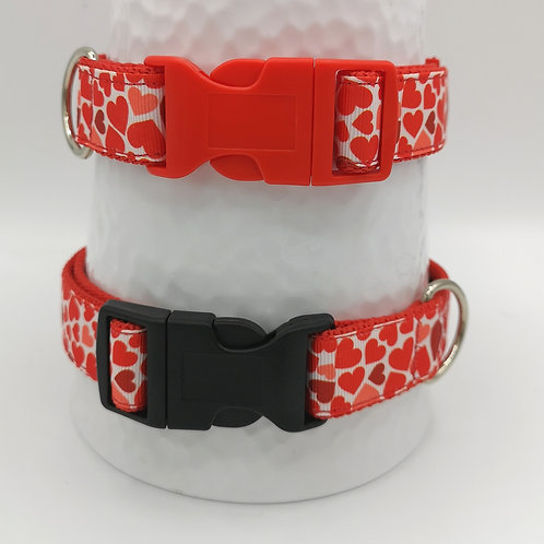 """Hearts  Red Dog Collar 💞 1"""" (25mm) wide 14"""" - 20"""" Black Buckle"""