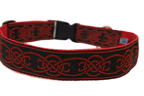 """Red Celtic Woven Jacquard Ribbon on 1 1/2"""" (38mm) Red Webbing"""