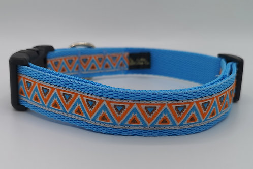 """Sharks Teeth Woven Jacquard Ribbon Turquoise 1""""Webbing, Matching Lead Available"""