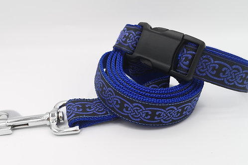 "Blue Celtic Jacquard Ribbon Collar & Optional Lead 1"" (25mm) Wide"