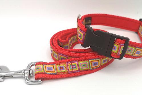 "Dog Collar & Optional Lead, Rainbow Cubes Ribbon, 1"" (25mm) Red Cushion Webbing"