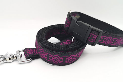 "Dog Collar Celtic Purple Jacquard Ribbon 1"" (25mm) Strong Black Webbing"