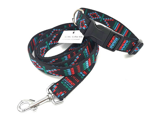 "Woven Jacquard Black 1"" (25 mm) Webbing Dog Collar &  Lead in Indian design"