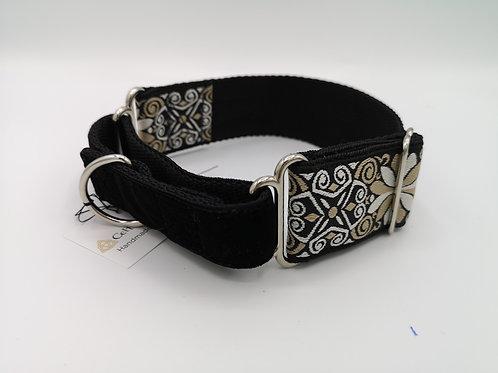 Martingale/Greyhound Dog Collar & Optional Lead, 38mm Webbing, Black & Gold .