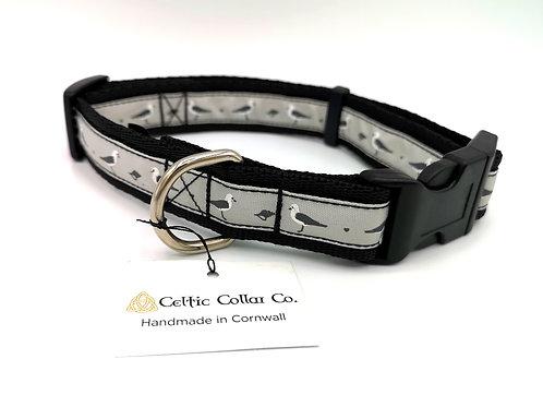 "Dog Collar & Lead Set, 1"" (25mm) Cushion Webbing, Woven Jacquard Seagull Ribbon"