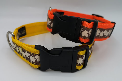 "25mm (1"")Orange Webbing Dog Collar with Oak Leaf Ribbon, Matching Lead Available"