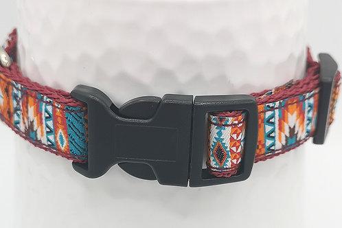 Dog Collar 19mm Webbing faced with Nahua jacquard ribbon. Matching lead availabl
