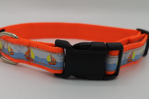 "Sailing boats woven jacquard ribbon/neon orange 1"" webbing 14"" - 20"""