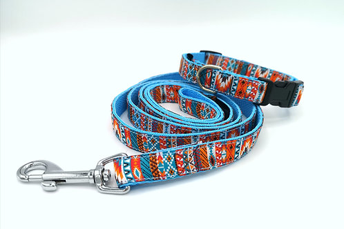 Puppy/Miniature Dog Collar & Lead Set, 16mm Turquoise Webbing and Tribal Ribbon
