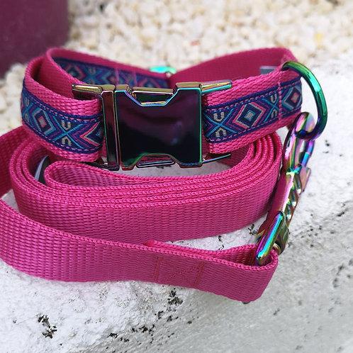 Dog Collar/Lead in Aztec Jacquard Ribbon on Pink 25mm Webbing Dog Collar