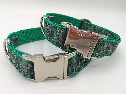 "Dog Collar Deep forest grosgrain ribbon on green webbing Size 13"" - 18"""