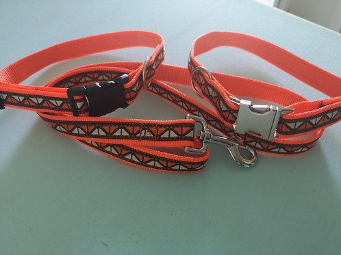 Dog Collar & Optional Lead, Orange & Brown Sharks Teeth Ribbon