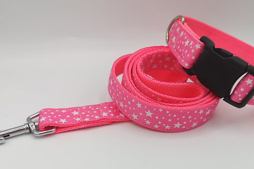 "Dog Collar & Lead Pink Stars Grosgrain Ribbon on Pink 1"" Webbing 13"" - 18"""