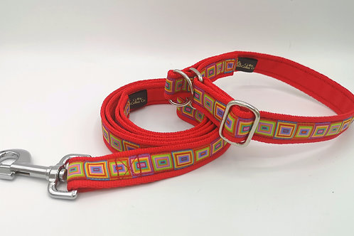 "Slip Stop Martingale Collar, Red 1"" Cushion Webbing, Multi Cubes Jacquard Ribbon"