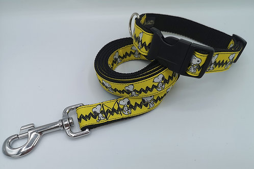 """Snoopy on Black 1"""" Webbing, Matching Lead Available"""