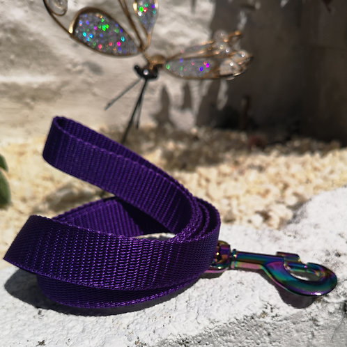 """1""""/25mm Webbing 4ft lead with Neo Chrome Swivel Trigger Hook , 6 colours ava"""