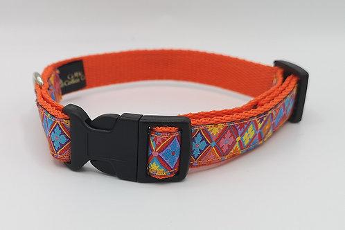 19mm Dog Collar & Optional Lead Flower Diamond Woven Ribbon on Orange Webbing