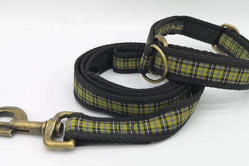 25mm Martingale Dog Collar in Cornish Tartan Cushion Webbing Brass hardware