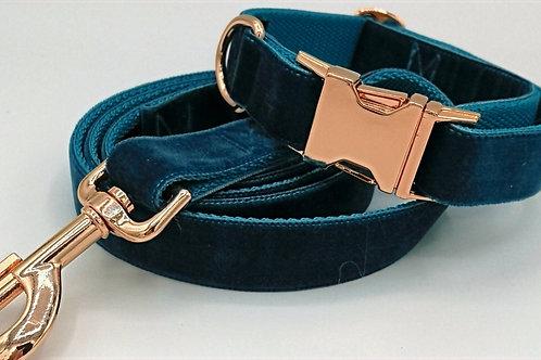 """Dog Collar/Lead 1"""" Webbing, Teal Velvet Grosgrain, Rose Gold Hardware"""