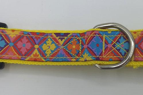 "Flower diamond woven jacquard ribbon on yellow 1""webbing matching lead available"