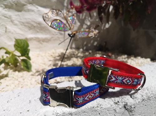 (Bottom) Aztec Woven Jacquard Ribbon on Royal Blue or Red Webbing Dog Collar