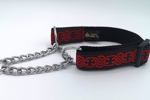 """1"""" Wide Red Celtic Martingale Dog Collar, Half Check"""