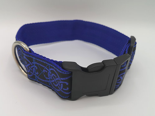 "1.5"" (38mm) wide Blue Celtic Dog Collar, Jacquard Ribbon on Royal Blue Webbing."