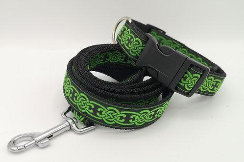 "Dog Collar Matching Lead , Celtic Green Ribbon, 1"" (25mm) Black Webbing"