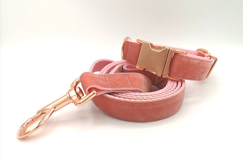 "Dog Collar/Lead 1"" Pink Webbing, Dusty Pink/Blush Velvet , Rose Gold Ha"