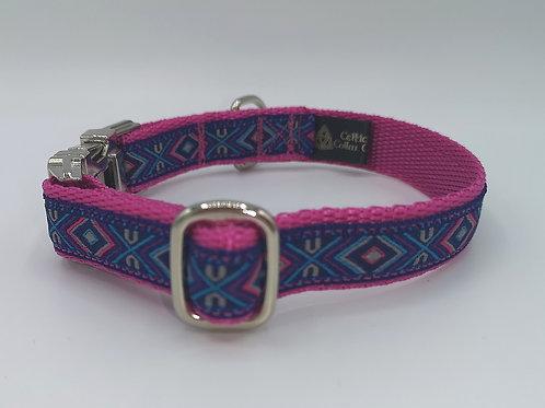 "3/4"" (19mm)  Dog Collar Aztec Pink Ribbon/Pink Webbing, Mirror Finish Hardware"