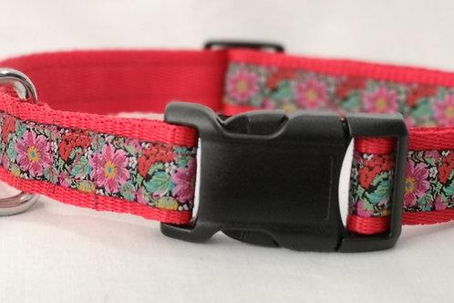 "Dog Collar  & Optional Lead , Jacquard Flowers on Red 1""(25mm } Webbing"