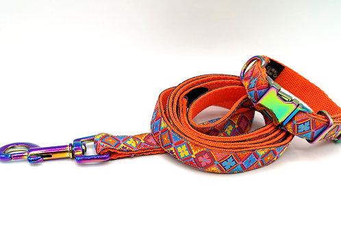 16mm Wide Miniature Dog Collar/Lead SET, Orange Webbing, Rainbow  Chrome Buckle