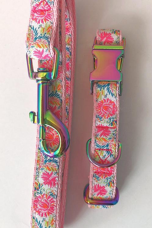 "Dog Collar & Optional Lead, 3/4"" (19mm) Pink Webbing, Flower Ribbon, Neo Chrome."
