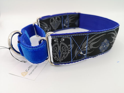 Martingale Dog Collar & Optional Lead, Blue 38mm Wide Webbing, Celtic Dragon.