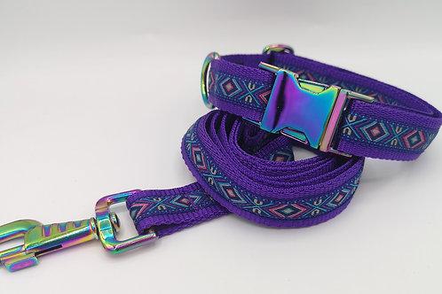 "Dog Collar & Optional Lead, Aztec Jacquard Ribbon, 1"" Purple Webbing, Neo Chrome"