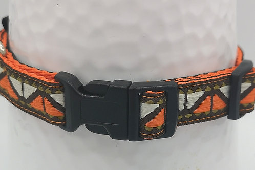 "Dog Collar 16mm Orange Webbing with Orange/Brown Sharks Teeth Ribbon 10"" - 14"""